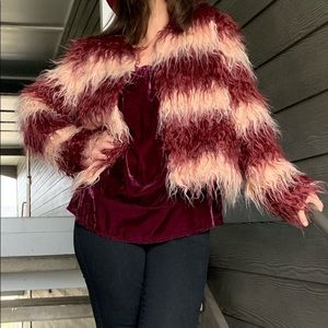 Large red and cream fluffy jacket
